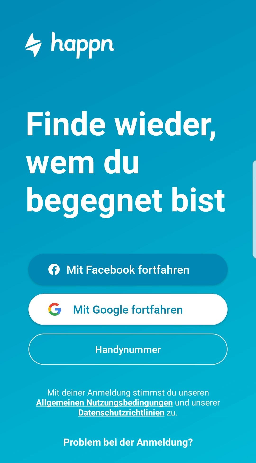 Happn App-Registrierungsseite