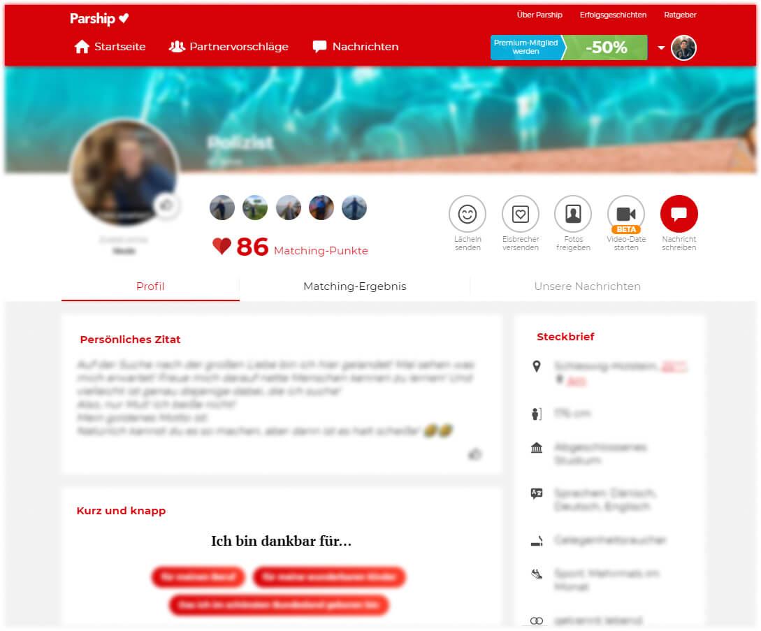 Parship Desktop Ansicht Benutzerprofil