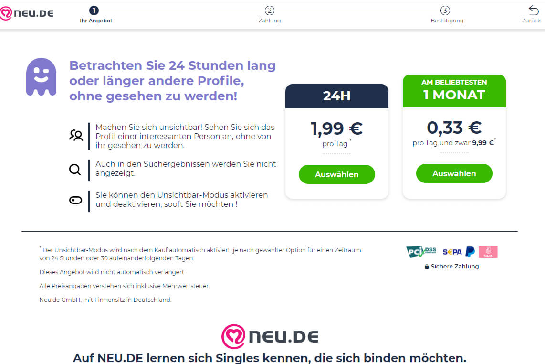 Neu.de Preise Feature Incognito