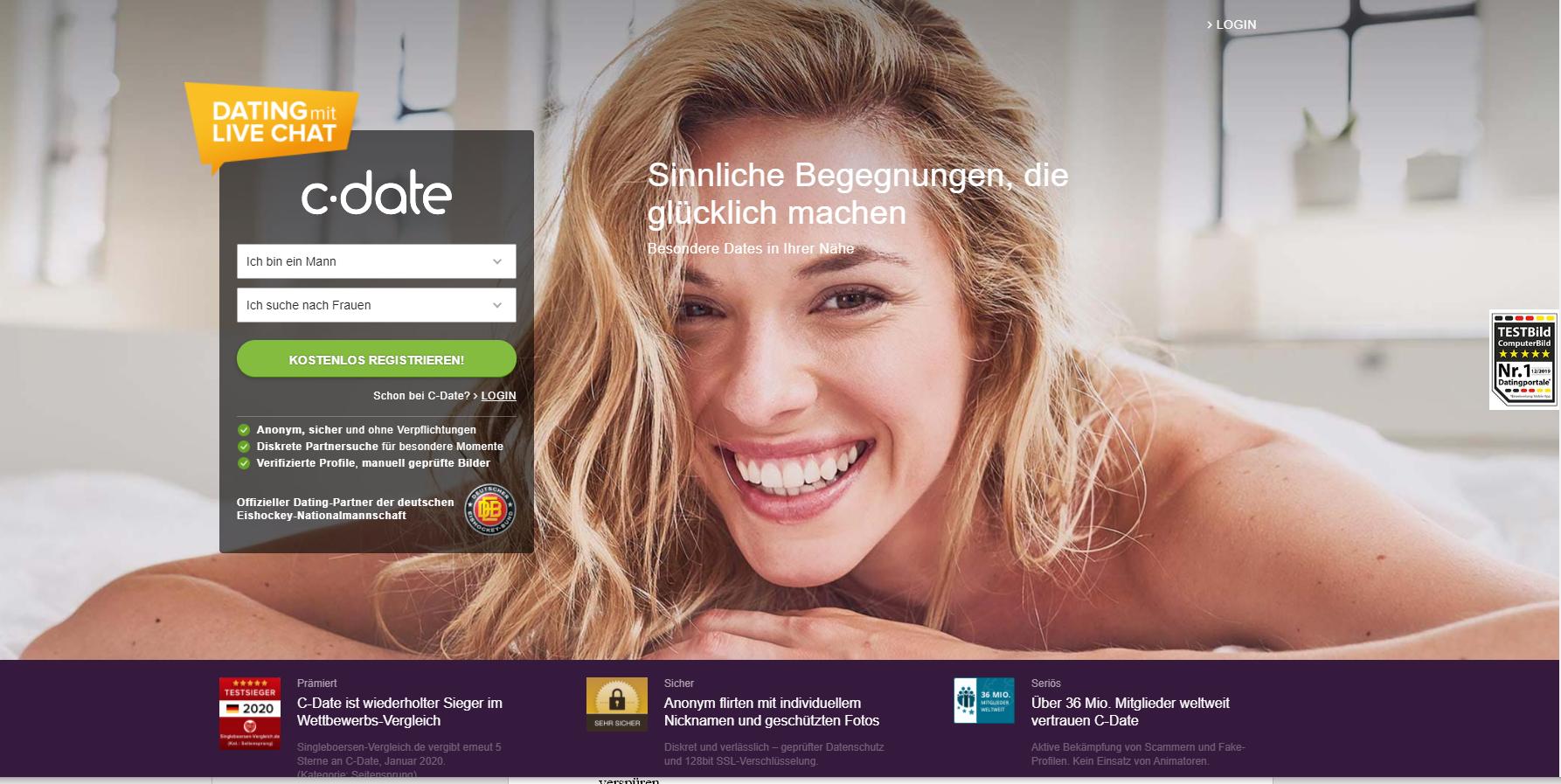 C-Date desktop Startseite